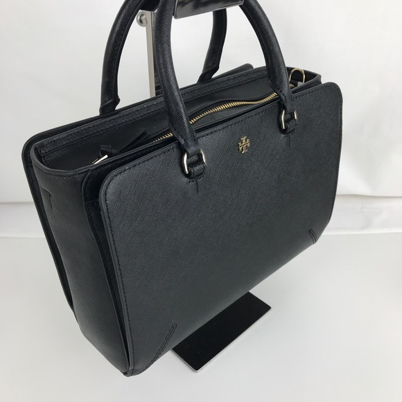 1d01f5467f5a New Tory Burch Robinson Small Black Leather Tote. M 5ac9371e2ae12f72961ce7f6